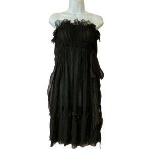 Lanvin Black Ete Strapless 36 Night Out Dress